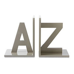 A to Z Bookends, Gray, Set of 2 - Read between the letters — quite literally — with these sleek alphabet bookends.