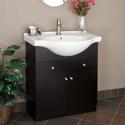 "30"" Carrel Vanity - This Carrel Vanity features two doors and one large drawer, each with soft-closing hinges. The easy-to-clean porcelain countertop, ample storage and an attractive built-in semi-recessed sink combine to make a functional and stylish addition to your bathroom."