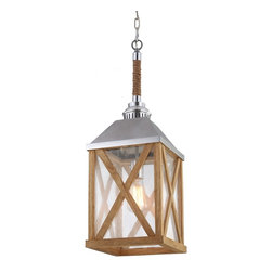 Murray Feiss - Murray Feiss F2956/1NO Lumiere' 1 Bulb Natural Oak / Brushed Aluminum Chandelier - Murray Feiss F2956/1NO Lumiere' 1 Bulb Natural Oak / Brushed Aluminum Chandelier