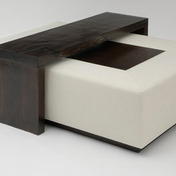 Mark Cocktail Ottoman with Bridge Table - Art | Harrison Collection - Rectangular upholstered ottoman with wood center. Bridge coffee table of rough hewn timber (also available separately). Both pieces shown in a mahogany stained finish.