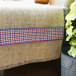 Burlap Table Runner by Fair Street Crafts - Gosh, I can think of so many ways to decorate with this table runner: navy plates with mason jar water glasses, a big galvanized bucket full of sunflowers — the options are endless.