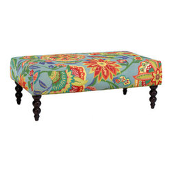 Rockport Ottoman in Sarasa Pool - Large ottomans are great for propping tired feet or for use as a cocktail table offering a convenient place to set a tray of drinks.  The Rockport is covered in a cheerful, colorful fabric that's just perfect for kicking off spring, moving right on into summer.