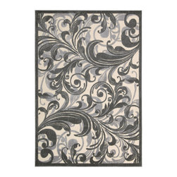 """Nourison - Nourison Graphic Illusions Floral Scrolls Multi 3'6"""" x 5'6"""" Rug by RugLots - Striking, bold patterns define this alluring collection of tantalizing rugs. Featuring an exciting hand-carved, high-low texture and contemporary color palette, these attractive area rugs will add a distinctive flair to any setting. Indulge the senses and make a bold statement with these durable and captivating creations for the floor."""