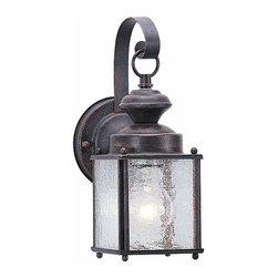 Sea Gull Lighting - 1-Light Wall Lantern Textured Rust Patina - 8880-08 Sea Gull Lighting Jamestowne 1-Light Outdoor Wall Lantern with a Textured Rust Patina Finish