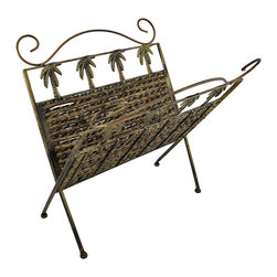 Zeckos - Golden Rattan Palm Tree Folding Magazine Rack - Display your library of magazines with a unique tropical accent in this beautiful folding woven rattan rack. The display piece features a metal frame with palm tree designs and a stunning golden bronzed finish. Two panels of black and gold woven rattan complete the elegant tropical design. When open, the rack stands 15 1/2 inches tall, 15 inches long, and 13 1/2 inches wide. The collapsible stand folds on two metal hinges to a width of just 1 1/2 inches for easy portability and storage. This magazine display rack is a stunning tropical home accent that would look wonderful holding all of your magazines in the bathroom or living room.