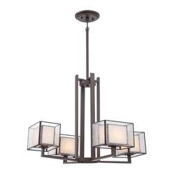 Quoizel Lighting - Quoizel FE5004WT Ferndale Western Bronze 4 Light Chandelier - 4, 100W Frosted G9 Halogen, Bulbs Included