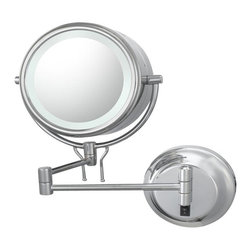 Aptations - Kimball & Young 91445Hw Wall Mirror - Kimball & Young 91445Hw Double Sided Contemporary Wall Mirror - Hardwired 5X / 1X Chrome