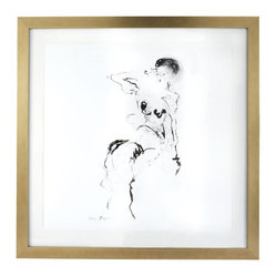 Lazy Susan - Charcoal and Ink Nude with Gold Leaf Frame - There is no time like the present to own an original, signed and framed charcoal sketch. Spare, flowing lines beautifully represent this nude figure in a contemporary style by Mary Mihelic.