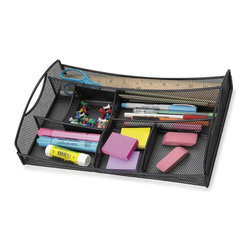 Safco - Onyx Mesh Drawer Organizer in Black - You'll stop wasting time digging through clutter to find what you're looking for thanks to the convenient space saving design of this drawer organizer. Features multiple compartments for keeping writing utensils, sticky notes, paperclips, and other small items neatly arranged and easily accessible. Drawer organizer is an easy way to organize pens, pencils, rulers and other desk essentials. A small accessory caddy to keep frequently used items within easy reach. GREENGUARD Certified. Made from steel. No assembly required. 13 in. W x 8.75 in. D x 2.75 in. H  (2 lbs.)Organize with Onyx all over your office! The contemporary style of this mesh organizer goes great whether it's on your desk in your home or office. Mesh also makes a good impression in your reception area, printing area, supply room, mail room, classroom or media center. It's Meshy no more!
