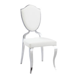 Chintaly Imports - White Shield Back Cabriole Designed Legs (Set of 2) - Modern designed side chair, Durable PU seat cushion and backrest, Heart shaped backrest, Beautiful cabriole designed legs, CA fire retardant foam,