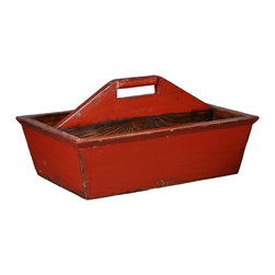 Antique Revival - Red 2 Open Caddy - The 2 Open Caddy is a great way to add a personalized touch to empty space on an end table, kitchen counter of bookshelf. The lightly distressed finish and handmade appeal help add a country vibe to any room. It's an attractive way to store small knick knacks or arrange fake flowers. The bright red paint color provides a nice splash of color. Newly made.