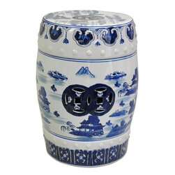"Oriental Furniture - 18"" Landscape Blue and White Porcelain Garden Stool - Authentic Ming dynasty style blue and white design in an oriental landscape pattern with mountain and pagoda detail. Strong ceramic features textured accents, two pierced medallions and elaborate borders along the top and bottom. The round top is 11"" in diameter, just the size for use as a low end table or display stand. Intended for indoor use only."