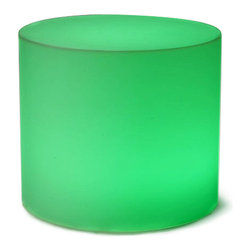 Frontgate - Glow Outdoor Stool - Made of durable, scratch- and scuff-resistant, 100% waterproof and weatherproof polyethylene, each piece withstands constant use. An LED light within the chair, stool/table, and cube shines upward and outward with an even glow. Furniture turns on and off with the flick of a switch. Create a brilliant outdoor scene with light-up Glow Outdoor Furniture, which glows wirelessly. Watch the mood instantly become more colorful when you light up this cool, illuminated furniture at sundown. . . . Powered by four D batteries (not included) or the included A/C adapter.