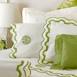 Mirasol Bedding - Classic and vibrant in a fantastic green! We wish we had a wedding to go to so that we could give this set as a gift.