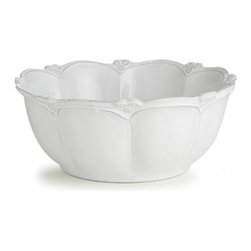 Arte Italica - Bella Bianca Rosette Large Round Bowl - This dinnerware was created by an Italian fashion designer then hand-crafted using a delicate white glaze over stoneware. The beautiful details create an elegant, unique addition to any table. Italian Stoneware, Hand made in Italy.