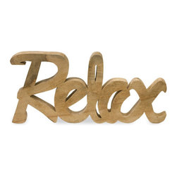 Relax Wood Sign - Carved from smooth mango wood, this typographic sign is a lovely addition to a bathroom. It's perfect for hanging on your wallor let it rest on shelving instead.