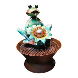 Alpine Fountains - Frog Metal Fountain - Boasts hues of Green, Orange and Yellow. 1 Year Limited Warranty. Assembly Required. Overall Dimensions: 16 in. L x 16 in. W x 20 in. H (6.73 lbs)Let this all metal frog spitter fountain bring a sense of peace in to your home. With its sturdy metal design it's sure to add color and character to any surrounding.