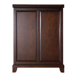 Crosley Furniture - Newport Bar Cabinet in Mahogany - Beautiful Raised Panel Doors. Antique Brass Finish Hardware. Plenty of Room for Storing Barware & Spirits. Doubles as a Serving Station when Entertaining. Adjustable Levelers in Legs. Expands to 62.5 in. Wide when Open. Engineered Hardwood & Veneer Construction. Front & back of bar have matching finish. 42 in. H x 31.25 in. W x 22 in. D (150 lbs)Constructed of engineered hardwood and wood veneers, this Expandable Bar Cabinet is designed for longevity. The beautiful raised panel doors provide the ultimate in style to dress up your home. The doors open and top folds out to double the size of your entertaining / serving area. Inside the doors, you will find plentiful storage space for spirits, glassware, and a host of other bar items. The center cabinet features 16 bottle wine storage, utility drawer, hanging stemware storage, and extra space for a variety of other barware.