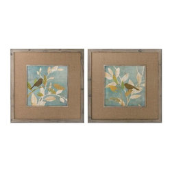 Uttermost - Uttermost Turquoise Bird Silhouettes Framed Art, Set of 2 - 41395 - -Uttermost's bird art combines premium quality materials with unique high-style design.