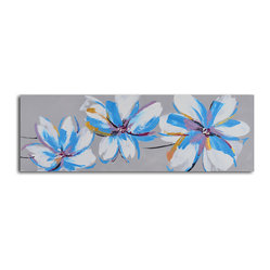 Floral butterfly fancy Hand Painted Canvas Art - Keep the look in your home cool and chic with a beautifully hand-painted canvas. The hand-stretched piece arrives ready to frame so be sure to have its home all picked out. Place it above your bed for a cheerful pop of design and color.