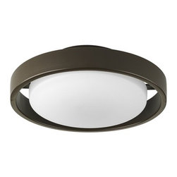 Progress Lighting - Progress Outdoor Ceiling Light with White Glass in Bronze Finish - P5781-20EBWB - Utilitarian and to-the-point, this outdoor ceiling fixture by Progress Lighting places a white-toned round glass shade within the protecting circumference of an antique bronze-finished steel band. Perfect for a covered patio. This non-dimmable ceiling light measures nearly five inches tall and ten and a half inches wide. Takes (1) 18-watt compact fluorescent spiral bulb(s). Bulb(s) included. UL listed. Dry location rated.
