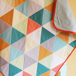 Gray Geometric Triangle Quilt by Petunias - If you ask me, you can't have too many baby blankets. This beautiful triangle quilt from Petunias is just the right size to tote out to the car seat, stroller or park. Or, of course, go ahead and snuggle with it at home.