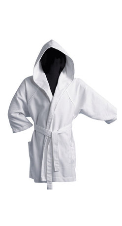Gilden Tree - Pique Hooded Robe - White - Knee-length, three quarter sleeve hooded pique robe is perfect as a bathing suit cover-up or warm weather lounging robe.  Leave it in the poolhouse, or for guests.  Add a monogram and it's a lovely bridesmaid or bridal party gift.