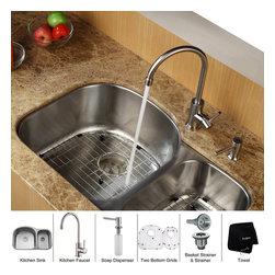 Kraus - Kraus 32 inch Undermount Double Bowl Stainless Steel Kitchen Sink with Kitchen F - *Add an elegant touch to your kitchen with unique Kraus kitchen combo
