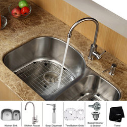 Kraus - Kraus 32 inch Undermount Double Bowl Stainless Steel Kitchen Sink with Kitchen F - *Add an elegant touch to your kitchen with unique Kraus kitchen combo
