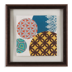 Bassett Mirror - Bassett Mirror Framed Under Glass Art, Paper Lanterns I - The first in the Paper Lanterns series, this fun contemporary piece features a playful, yet sophisticated compilation of circles made of different prints and patterns! An homage to the classic beauty of paper lanterns, this piece is surrounded with an off-white matte and framed beneath glass in a 2-inch charcoal frame.