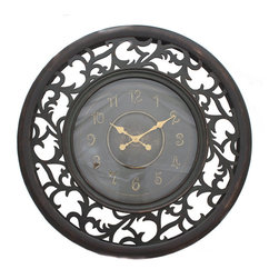 ecWorld - Antique-Style Vine Leaf Pattern Wooden Wall Clock with Leaf Emblem - Uniquely designed vine leaf frame surrounds a traditional wall clock for a one of a kind accent for your home. The face of the clock features a lovely leaf emblem.