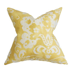 "The Pillow Collection - Emese Floral Pillow Yellow 18"" x 18"" - This throw pillow springs to life with its bright hues and rich floral pattern. This accent pillow is the perfect addition to any of your room with its bold yellow and white color palette. This 18"" pillow lends a summery vibe and a playful statement to your couch, bed or seat. Made from 45% linen and 55% cotton fabric. Hidden zipper closure for easy cover removal.  Knife edge finish on all four sides.  Reversible pillow with the same fabric on the back side.  Spot cleaning suggested."