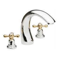 Renovators Supply - Faucets Brass/Chrome Widespread Faucet   13142 - Widespread Faucet. Decorative cross-handled widespread faucets are an elegant addition to any to any bathroom! You will not find a better faucet for this price! Drain sold separately.