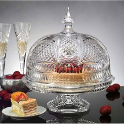 Godinger Lexington Footed Covered Cake Plate - Whether showcasing your special dessert or cheese selection, the Godinger Lexington Footed Covered Cake Plate shows them off in style. Sure to be an instant heirloom piece, this two-piece set includes a footed cake plate and ornate domed topper. Both pieces feature beautiful mitre cuts and are crafted of superior-quality glass.About GodingerBased in Ridgewood, N.Y., Godinger has been creating distinctive kitchenware, home decor, and gifts for over 40 years. Hand-crafted from crystal, pewter, and silver, Godinger's unique wedding gifts and home decor make any special occasion even more meaningful. From serving dishes and silverware, to barware and centerpieces, their wide tableware selection puts the art back into dining. Godinger is committed to providing excellent quality and style at affordable prices for every customer.