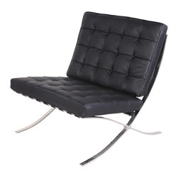 Hampton Modern - Pavilion Chair in Genuine Black Leather - The Pavilion Chair is inspired by the designs originally created for the International Exhibition in Barcelona.  The chair features genuine leather seat and back cushions which adapt to fit the curve of the frame. The stainless steel frame is welded in a single-piece construction for ultimate durability. Stainless steel is hand-buffed to a mirror finish. All piping on the chair is leather. The leather itself is a high quality soft Italian leather. The polished steel frame is of a very high quality. The cushions are made from a durable high density foam. The supporting straps are made from a thick 100% Italian leather. Highly polished stainless steel frame for a brilliant luster. X-Frame is a single-piece construction for smooth clean lines - no bolts or screws. 2 year warranty against manufacturer defects.