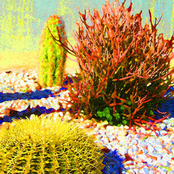 Three Cacti Art Print - This Digital Art modern desert landscape print  of three colorful cacti will make a great focal point in any room.  The bright colors and textures can bring out the  colors in your space. My digital art is created in Photo Shop from my photographs, then manipulated and painted in Photo Shop. Digital Art Prints available on paper, canvas, metal and acrylic. Different sizes, proportions and panels available upon request. Print prices start at $18.00.