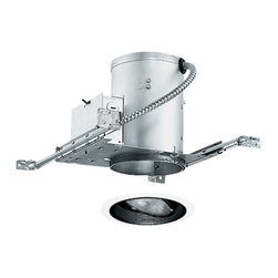 Juno Lighting Group - 5-inch Recessed Lighting Kit with Adjustable Black Trim - IC20/688B-WH - This recessed lighting kit features 5-inch insulation-ready housing and a black baffle with an adjustable gimbal ring. The gimbal ring has 30-degree vertical adjustment and 358-degree rotation. The housing can be completely covered with insulation. It is air-tight which reduces heating and cooling costs. The hangers are expandable up to 25 inches. Takes (1) 50-watt halogen PAR30 bulb(s). Bulb(s) sold separately. Damp location rated.