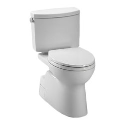 TOTO - TOTO Vespin II Two-Piece High-Efficiency Toilet with Sanagloss (CST474CEFG#01) - TOTO Vespin II Two-Piece High-Efficiency Toilet with Sanagloss, Cotton (CST474CEFG#01)