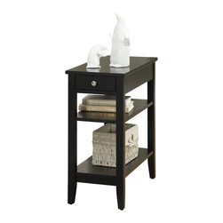 Convenience Concepts - Convenience Concepts Accent Table X-LB9517017 - The American Heritage 3 Tier End Table is the perfect complement to any home. Featuring a drawer for hidden storage, you can hide away unsightly controls and accessories. Also featuring a middle and bottom shelf, you will have plenty of space to display collectibles, or store magazines. The rich black finish will complete the look.