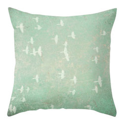 Maybe Sparrows Place - Green Vintage Birds Pillowcase - The soft, muted tones and carefree imagery of Ashley's Vintage Birds work to instantly relax overworked minds. Plan your own southern migration every time you rest against your Vintage Birds Pillowcase.