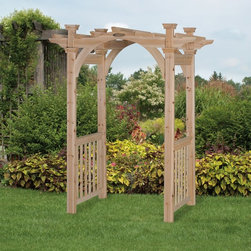 Suncast - Homeplace Cedar Arbor Multicolor - CA3500 - Shop for Arbors and Trellises from Hayneedle.com! Create and gorgeous entryway into your garden or a special nook with the beautiful Homeplace Cedar Arbor. Crafted from strong and durable cedar that is naturally rot- weather- and insect-resistant this arbor is made to last. Its classic design featuring railings an arched top and intersecting shades complement any setting. All pieces come pre-cut and pre-drilled while the unfinished design allows you the choice of painting or finishing the arbor or just enjoying the natural beauty of the cedar. Additional Features Unfinished design allows you to paint to your taste Railings arched top and intersecting shades 10-year limited warranty Overall dimensions: 51.875W x 39.5D x 91H in. Interior dimensions: 43.73W x 32.75D in. About SunbeamSunbeam is an American company with a long history in producing electric home appliances. For over 100 years they ve been a trusted source for household items with a rich history starting in 1893. Sunbeam creates essential kitchen items handy garment care products cozy bedding and smart health and home solutions. They are now a part of the Jarden Corporation family.