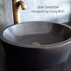 "Livingroc - Round Black Granite 16"" vessel sink - LEAF SHADOW -"
