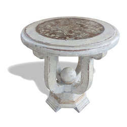 Koenig Collection - Old World French Reverse Painted Glass Table, Antiqued Cream Crackle - Old World French Reverse Painted Glass Table, Antiqued Cream Crackle,
