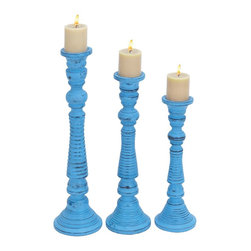 Set of 3 Contemporary Wood Candle Holder with Wide Base - Make your special occasions memorable by placing colorful candles in this Contemporary Wood Candle Holder with Wide Base (Set of 3). It is available in three different sizes, and lends a refined touch to simple room settings. With its statuesque appeal, this candle holder is sure to make delightful decor accent in modern as well as conventional settings. Impeccably designed from premium grade materials, this Wood Candle Holder has a tall, lamp post style design. The lamp post style candle holder is detailed with intricate ribbed carvings and fluted contours. Styled with a flat, wide base, this candle holder offers optimum balance to the burning candles to prevent tipping, while the flat top is ideal for safely holding the candle in place. Premium grade materials used in construction of this candle holder ensures its long lasting use.. It comes with the following dimensions