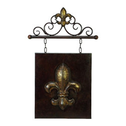 Benzara - Antique Style Hanging Metal Wall Plaque Brown Fleur De Lis Home Decor - Antique style hanging metal wall plaque in rust brown finish with fleur De Lis motif and chain link detail accent decor