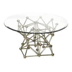 Worlds Away Molecule Round Coffee Table Base Only, Silver Leaf - Worlds Away Molecule Round Coffee Table Base Only