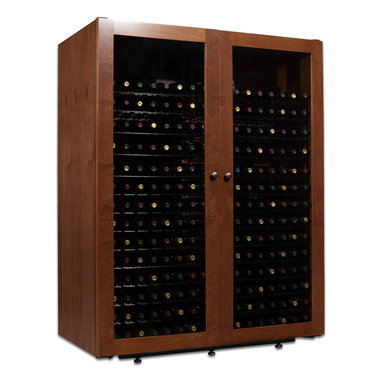 440 Bottle Sienna Wine Cabinet - Unique and simple design stand out in this full-length glass door design. Each cabinet is handcrafted from Alder and the distressed to gives each unit its own character and appearance.