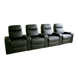 Baxton Studio - Baxton Studio Cannes Home Theater Seats (4) Black - Plush polyurethane foam cushions, hardwood construction,  Leggett & Platt style reclining mechanism, plastic cup holders as added value, top grain leather on all the seating surfaces, vinyl leatherette matched to the back and sides.