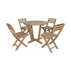Anderson Outdoor Furniture - Descanso Alabama Bistro Set - Dress up your garden party with elegant seating for four. The angled legs of this round table add a touch of outdoor elegance, and the solid-teak construction will hold up to the elements for years to come.