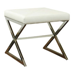 Coaster - Coaster Ottoman with Metal Base in White Faux Leather - Coaster - Ottomans - 501063 - This cool contemporary ottoman will add a sophisticated look to your living room. The sleek shiny silver tone metal base features crossing legs for a bold style. A soft faux leather cushion on top offers a comfortable place to rest your feet, or a great extra seat when guests arrive. Covered in either rich dark brown or white faux leather, this slick ottoman is sure to complement your home decor. Create